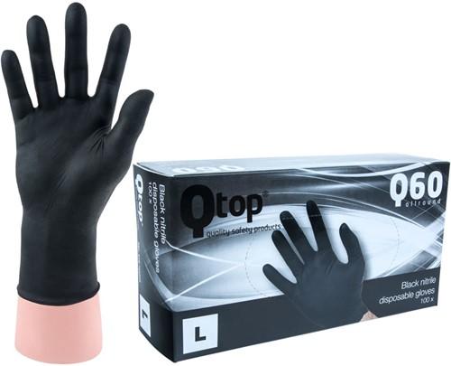 Qtop Q40 Zwarte Nitrile Handschoenen - 9/l